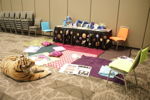 Reading and quiet time corner with the comfiest tiger ever