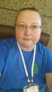 Me in the official Gender Odyssey Staff t-shirt, I loved how the blue and green color scheme repeated itself throughout the event