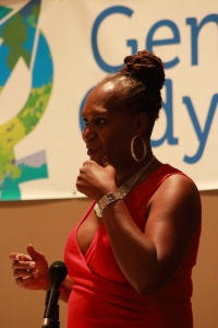 """Andrea Jenkins giving her key note speech """"To be Young, Gifted, and Trans"""""""
