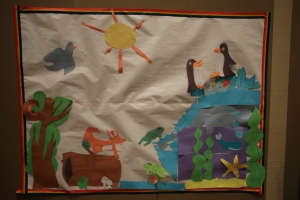 The photo booth backdrop created by and for the kids